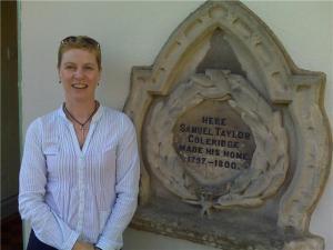 Jo with Coleridge plaque